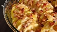Cartofi cu bacon si mere la cuptor