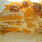 Tort de clatite cu portocale si caramel